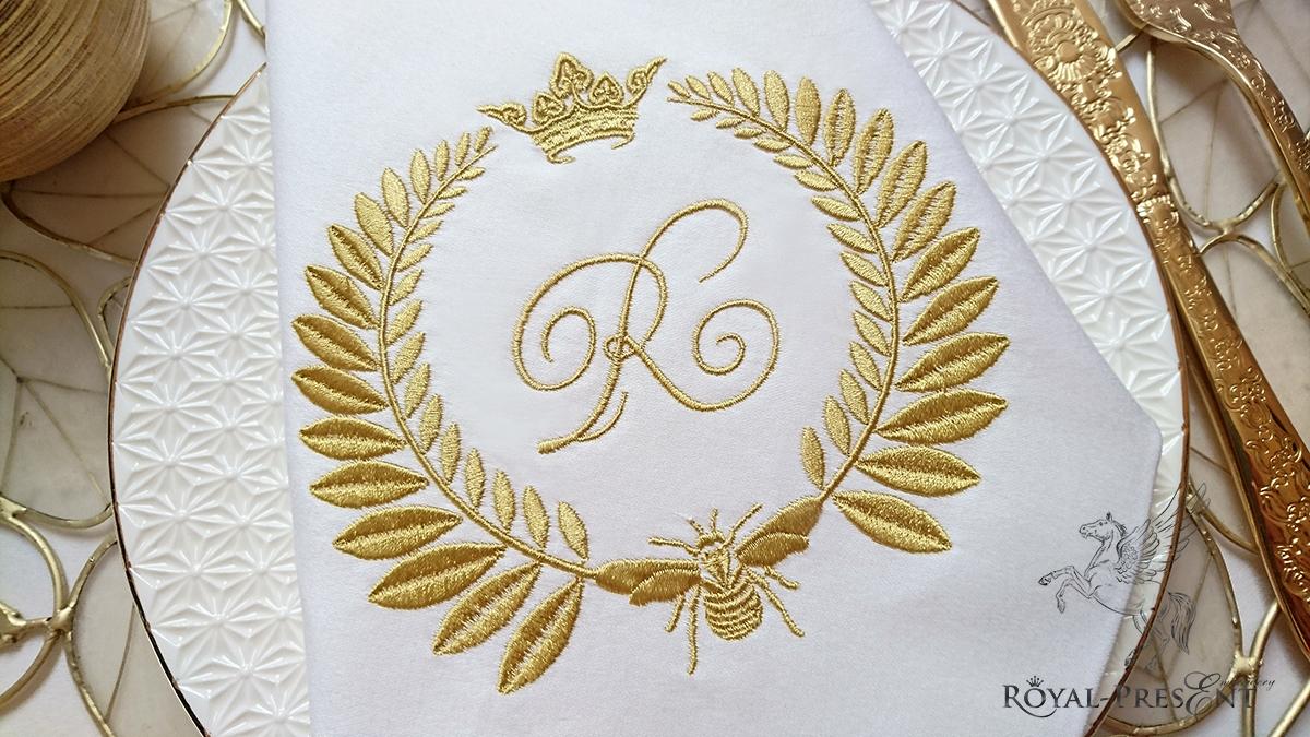 Дизайн машинной вышивки Обрамление Пчела Наполеона для монограммы