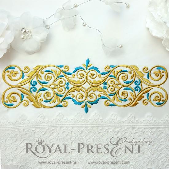 Дизайн машинной вышивки Золото с голубым - 4 размера RPE-1130