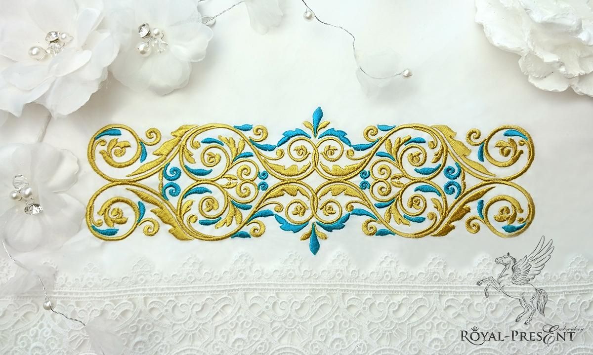 Дизайн машинной вышивки Золото с голубым - 4 размера