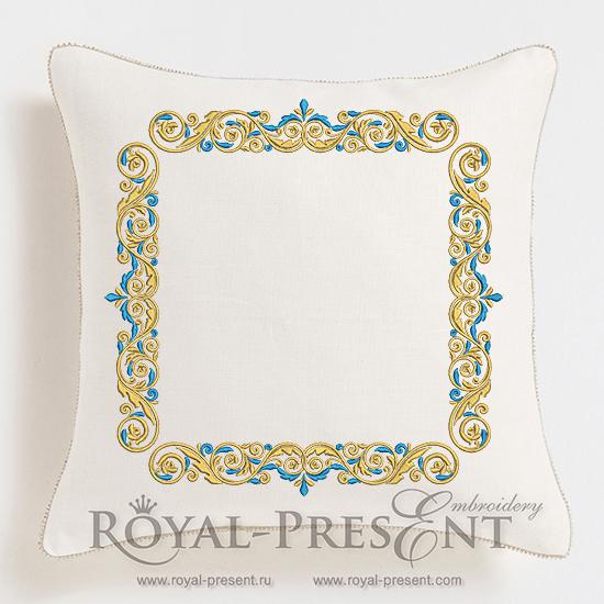 Дизайн машинной вышивки Бордюр Золото с голубым - 3 размера RPE-1131
