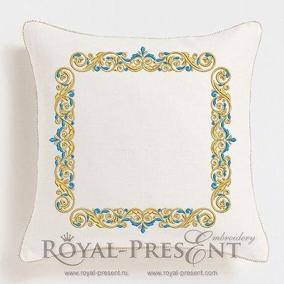 Дизайн машинной вышивки Бордюр Золото с голубым - 3 размера