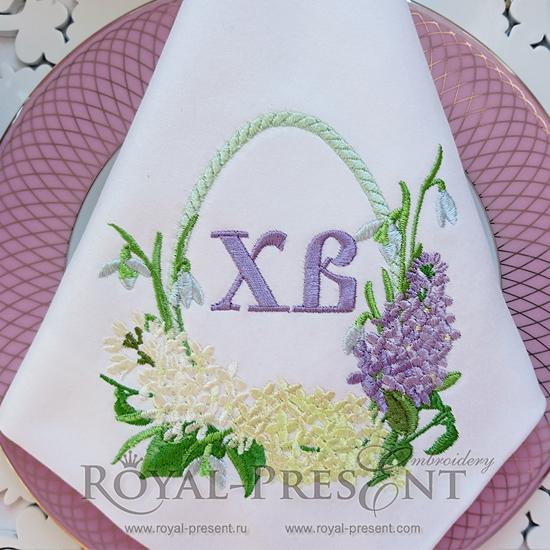 Дизайн машинной вышивки Пасхальное яйцо с сиренью для надписи