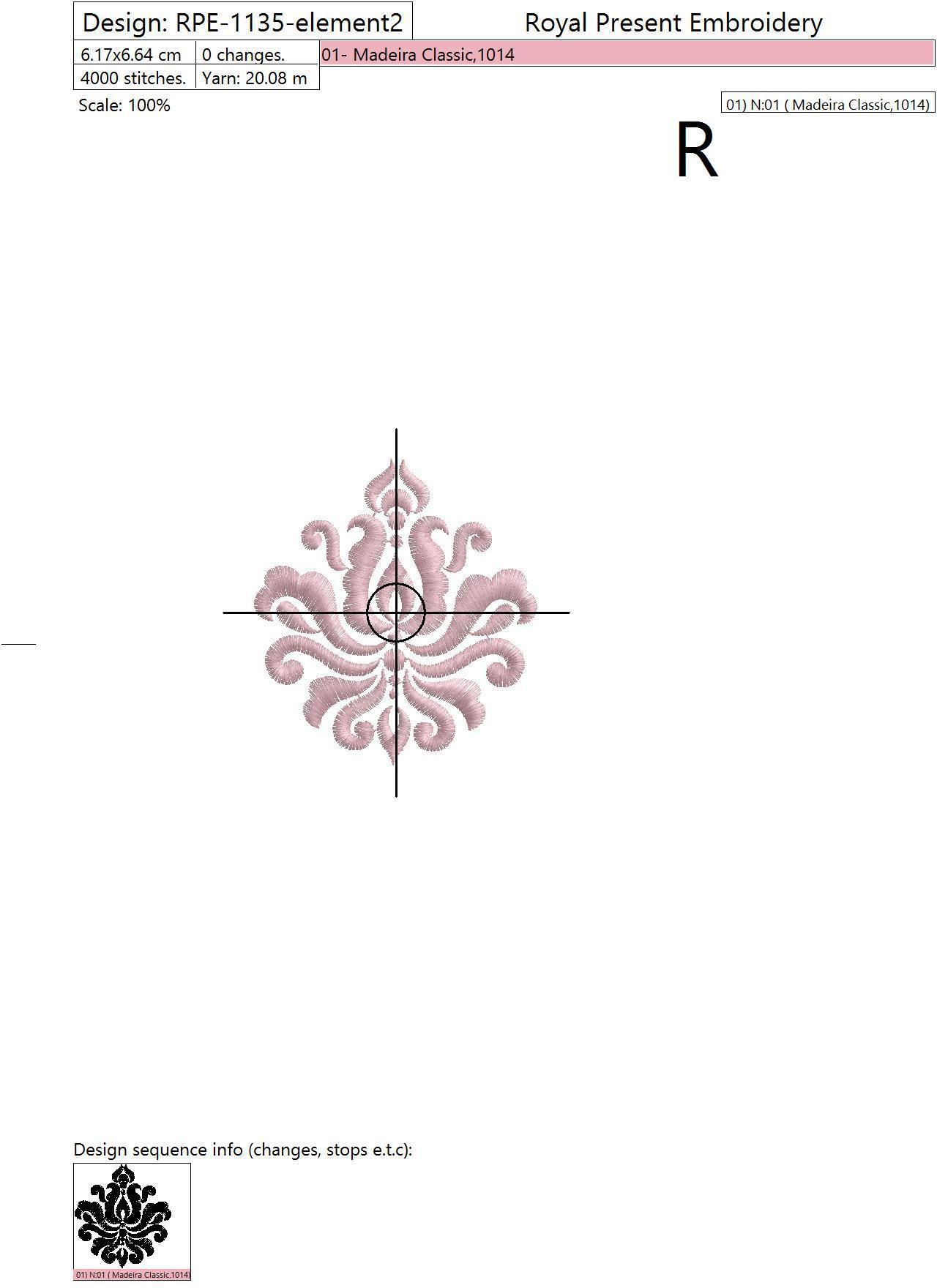 Дизайн машинной вышивки Винтажный элемент Дамаск