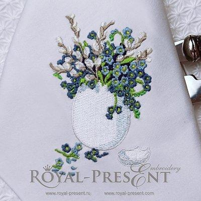 Дизайн машинной вышивки Пасхальное яйцо с незабудками - 2 размера