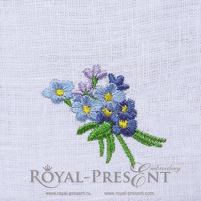 Дизайн машинной вышивки Незабудки голубые