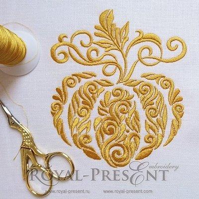 Дизайн машинной вышивки Орнаментальная тыква - 3 размера