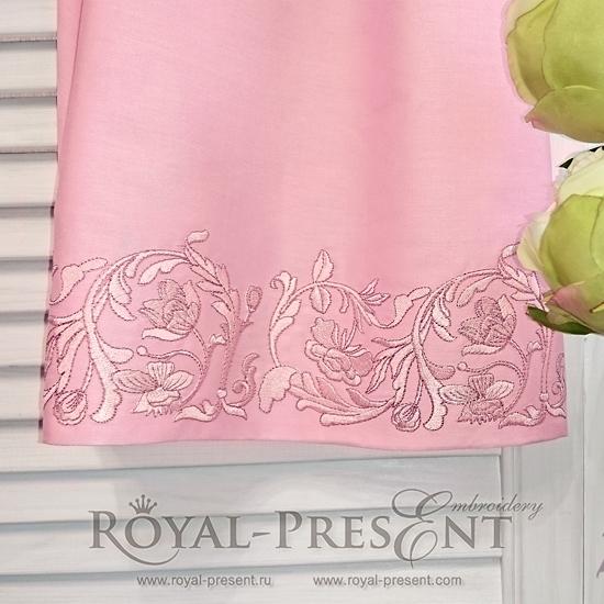 Дизайн машинной вышивки Витиеватый цветочный бордюр PRE-495-01