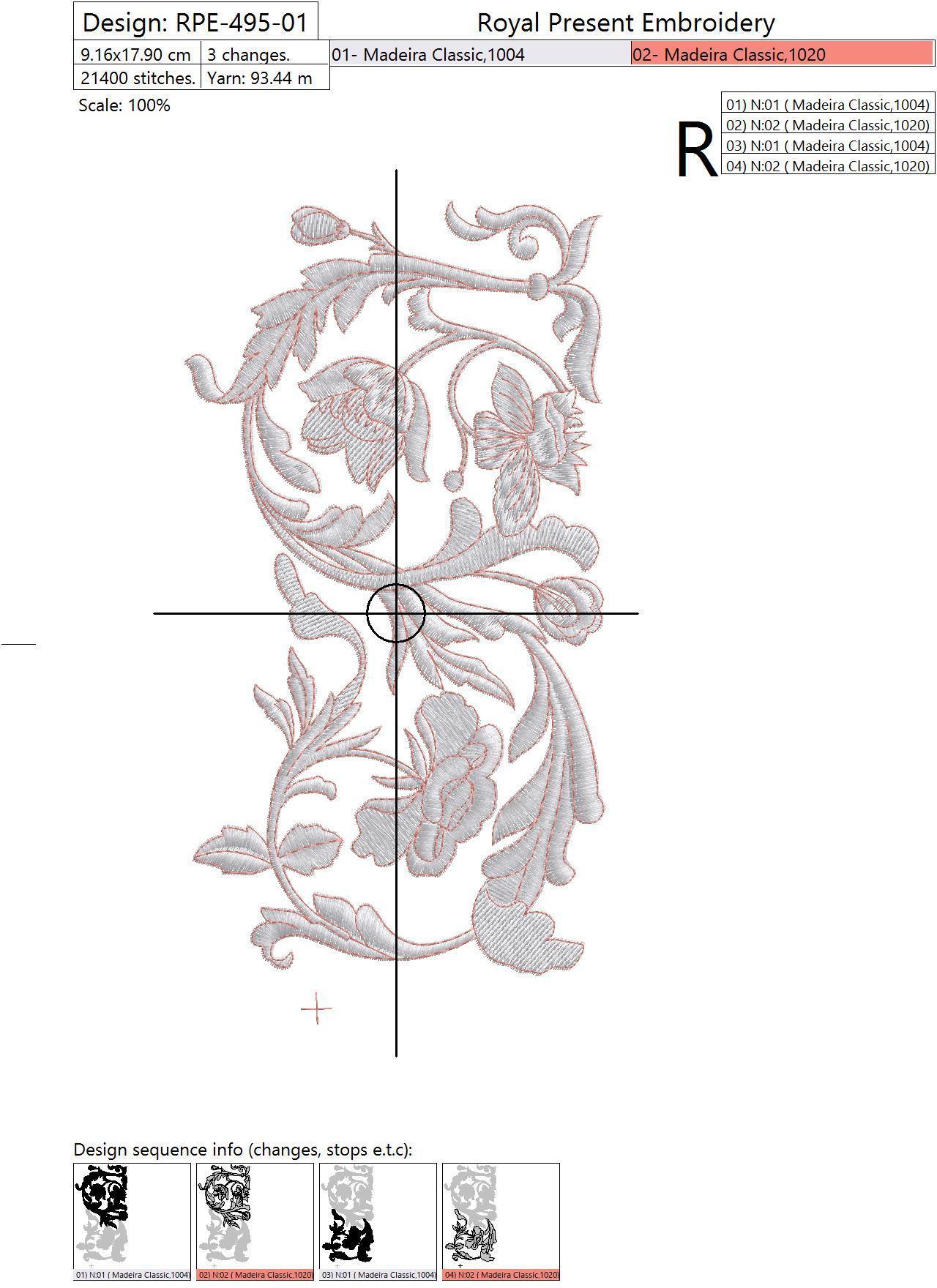 Дизайн машинной вышивки Витиеватый цветочный бордюр