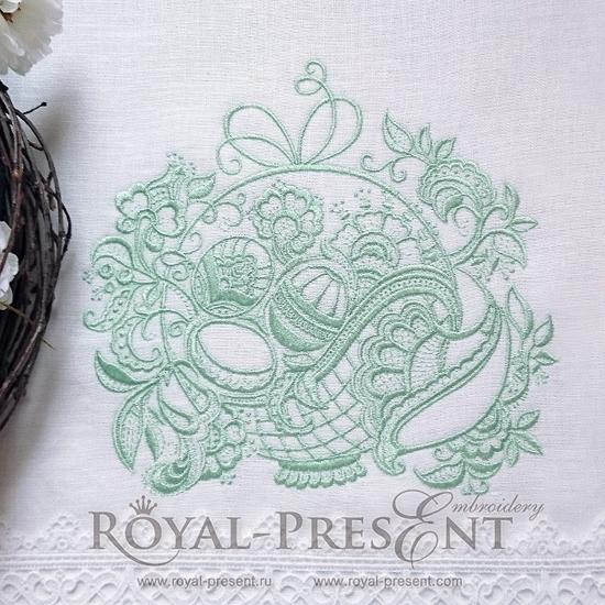 Дизайн машинной вышивки Ажурная Пасхальная корзинка RPE-187
