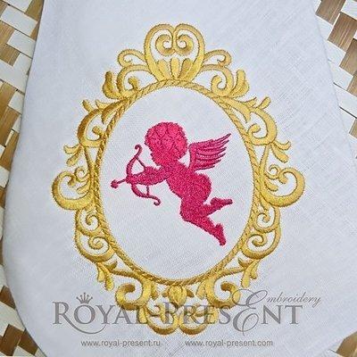 Дизайн машинной вышивки Золотое Обрамление - 2 размера