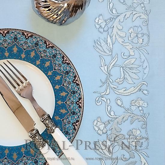 Дизайн машинной вышивки Витиеватый голубой цветочный бордюр PRE-495-02