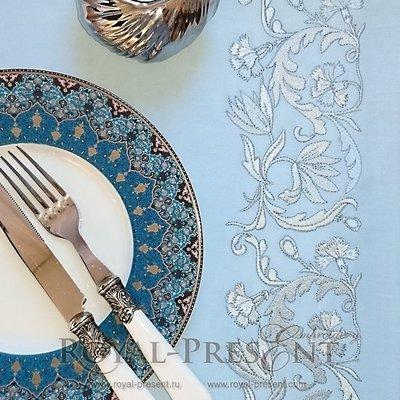 Дизайн машинной вышивки Витиеватый голубой цветочный бордюр