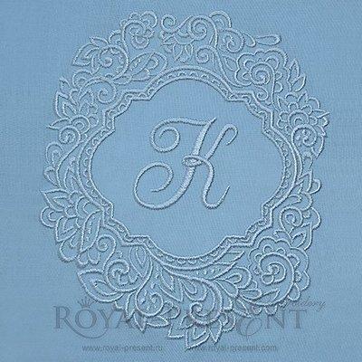 Дизайн машинной вышивки Голубая рамка для монограммы - 2 размера