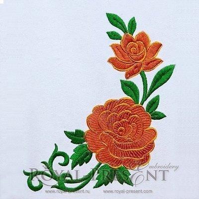 Дизайн машинной вышивки Красные садовые розы - 3 размера