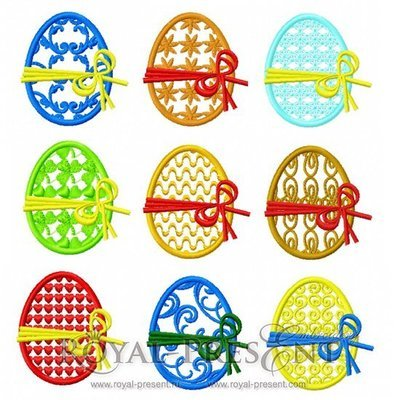 Набор из 9 дизайнов ажурной машинной вышивки Пасхальные яйца
