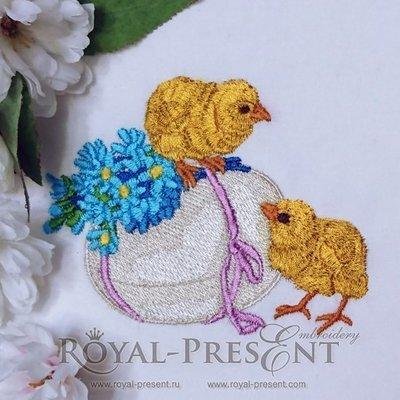 Дизайн для машинной вышивки Два Пасхальных цыпленка