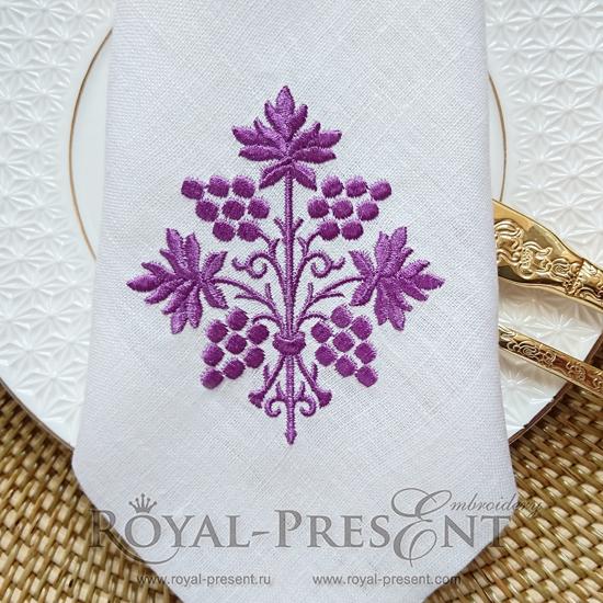 Дизайн машинной вышивки Пурпурный Виноград RPE-058-02