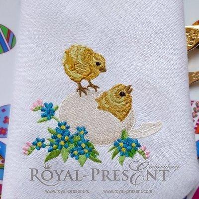 Дизайн машинной вышивки Милые Пасхальные цыплята
