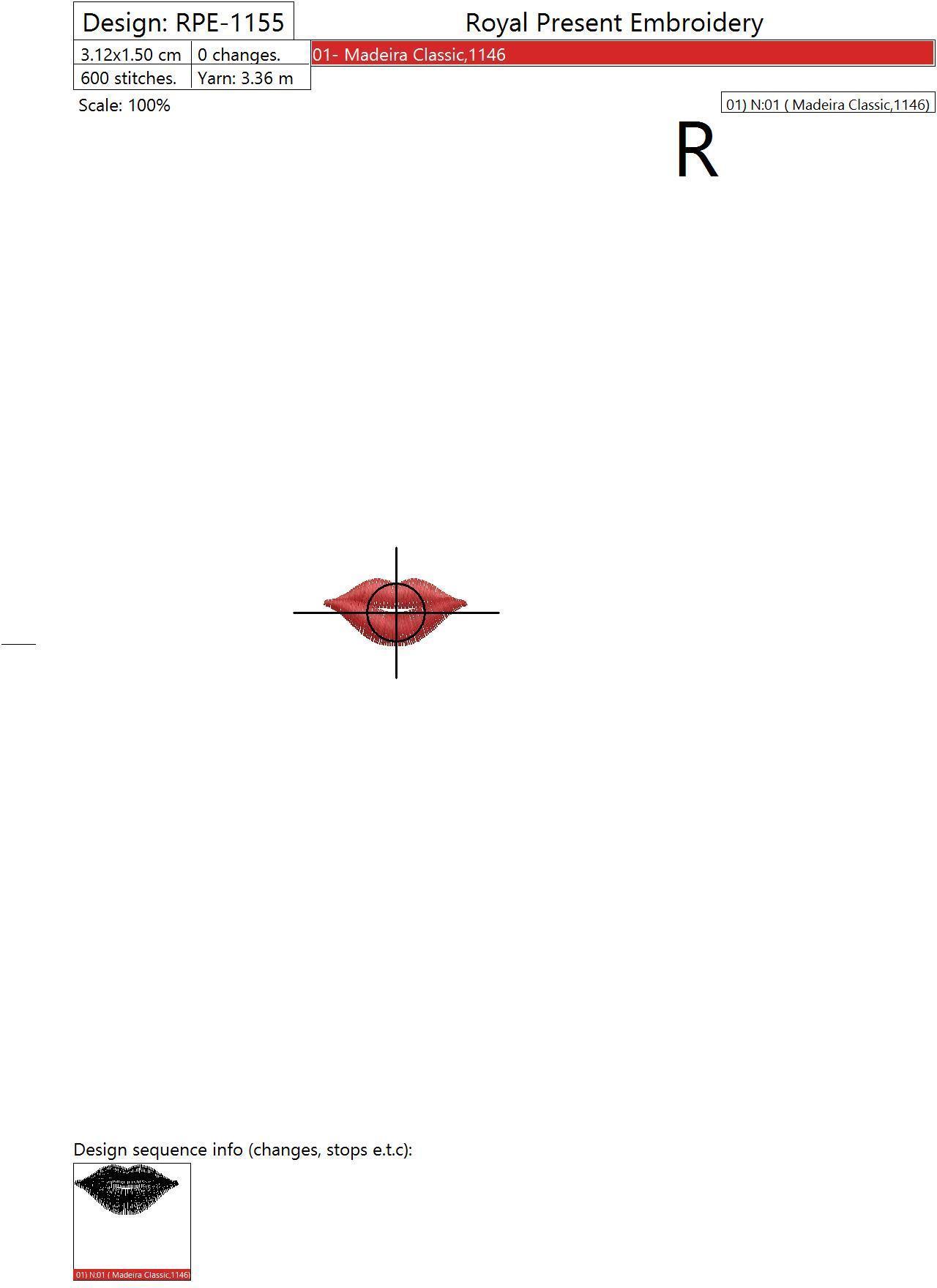 Дизайн машинной вышивки Губы - 5 размеров