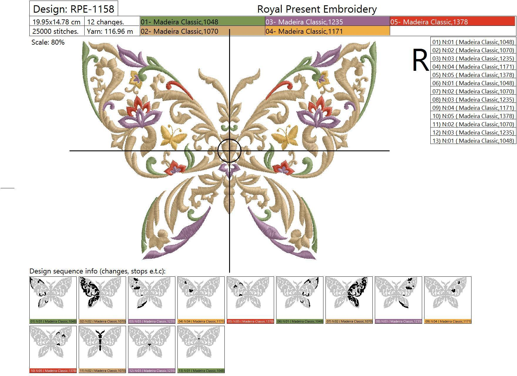 Дизайн машинной вышивки Разноцветная бабочка - 3 размера