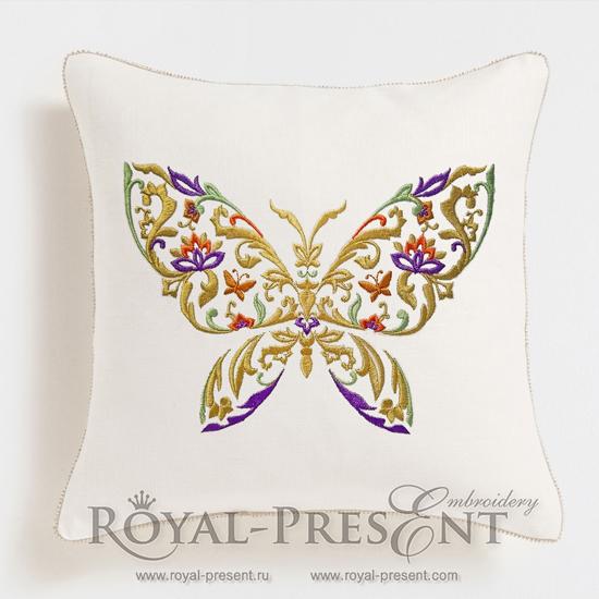 Дизайн машинной вышивки Разноцветная бабочка - 3 размера RPE-1158