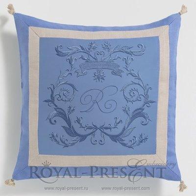 Дизайн машинной вышивки Обрамление для монограммы в стиле Короля Солнца