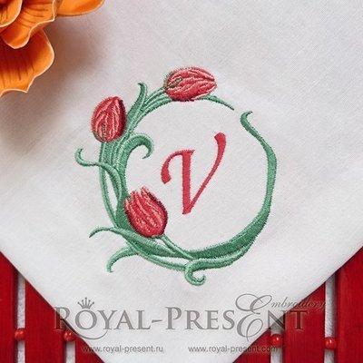 Дизайн для машинной вышивки Обрамление Тюльпаны - 2 размера