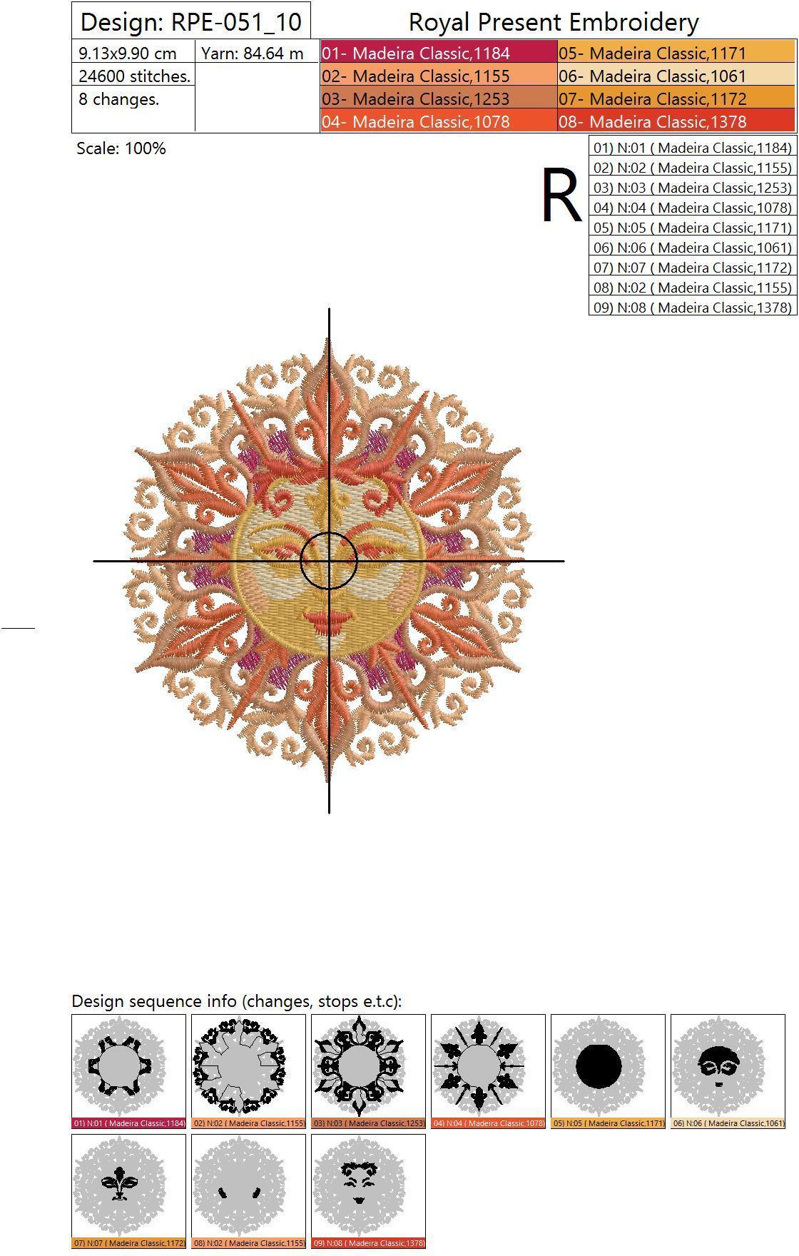 Дизайн машинной вышивки Красно Солнышко - 3 размера