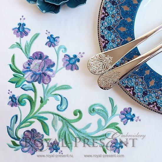 Дизайн машинной вышивки Изумрудные цветы угол
