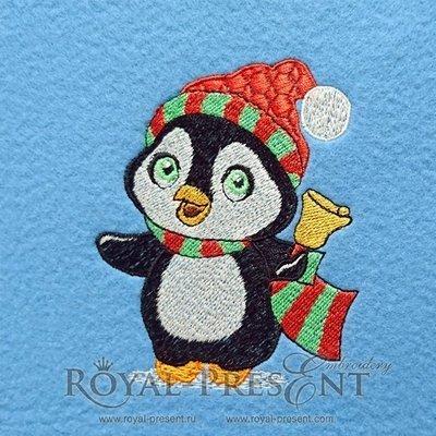 Дизайн машинной вышивки Пингвин с колокольчиком