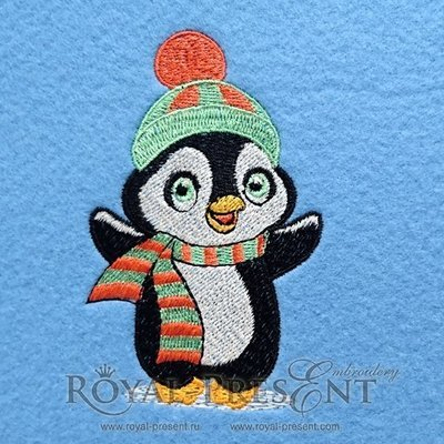 Дизайн для машинной вышивки Новогодний пингвин
