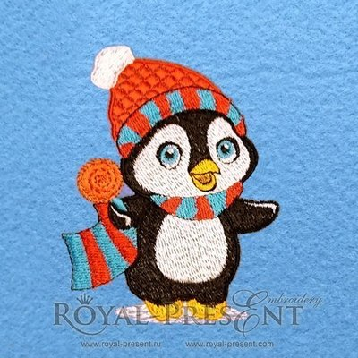 Дизайн машинной вышивки Новогодний пингвин с леденцом