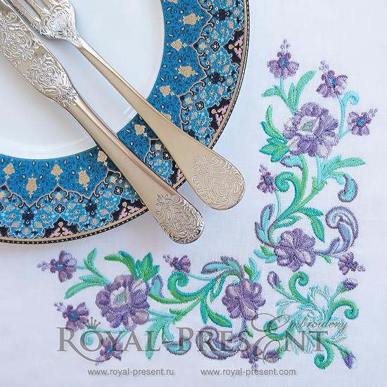 Угловой дизайн машинной вышивки Изумрудные цветы RPE-276-200