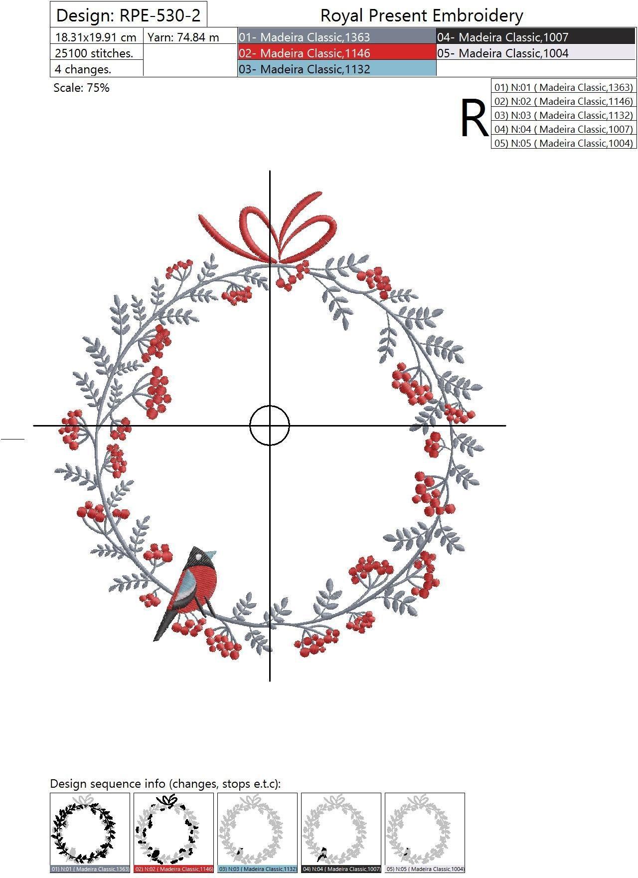 Дизайн машинной вышивки Новогодний Венок для монограммы с рябиной и снегирем