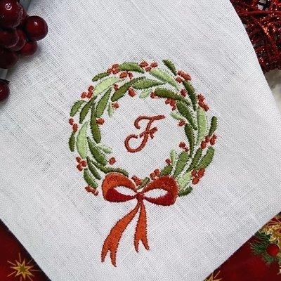 Дизайн для машинной вышивки Новогодний венок - 2 размера