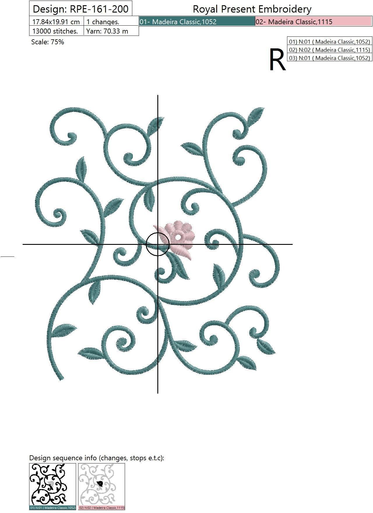 Дизайн машинной вышивки Фрагмент для растительного полотна с красным цветком - 3 размера