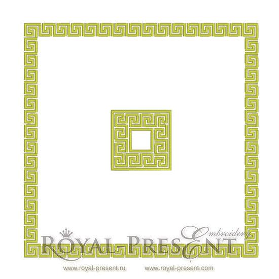 Дизайн для машинной вышивки Классический Греческий орнамент - 2 размера RPE-039