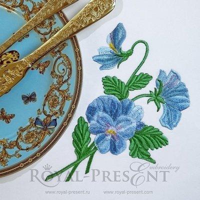 Дизайн машинной вышивки Голубые анютины глазки - 2 размера