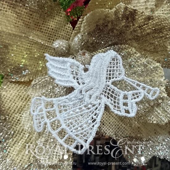 Дизайн новогодней машинной вышивки Кружевной Ангел RPE-820-2
