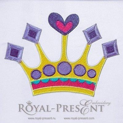 Дизайн машинной вышивки Корона принцессы - 2 размера