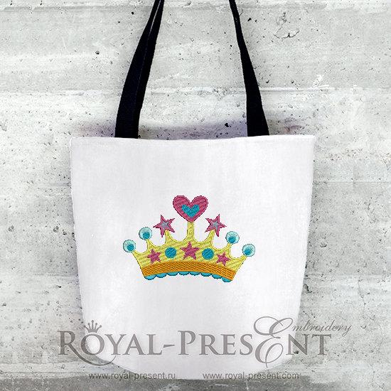 Дизайн машинной вышивки Корона принцессы - 2 размера RPE-729-03