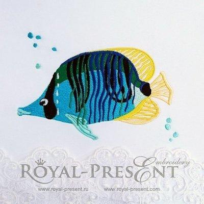 Дизайн машинной вышивки Красивая морская рыбка - 3 размера