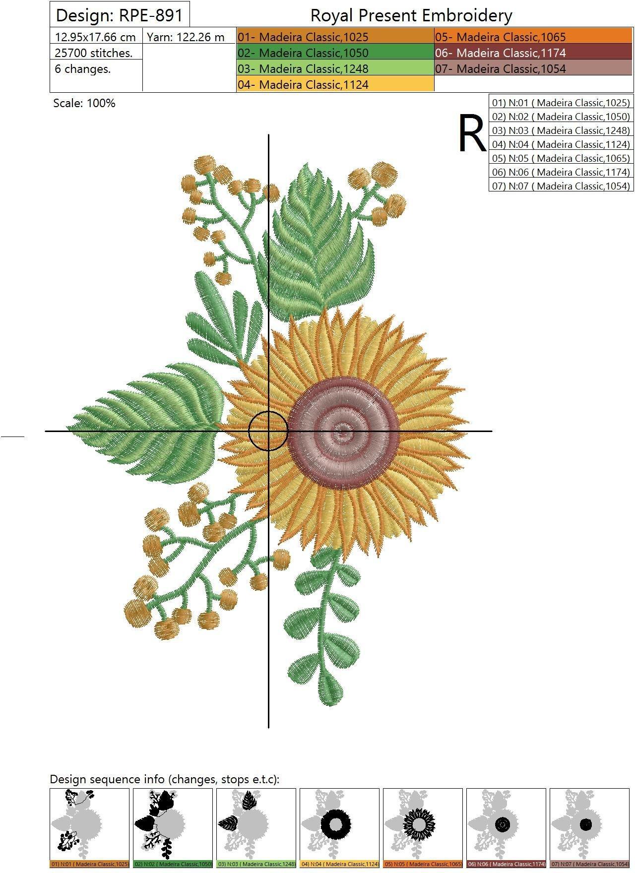 Дизайн машинной вышивки Подсолнух - 2 размера