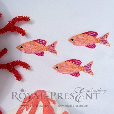 Дизайн машинной вышивки Стайка рыбок - 2 размера