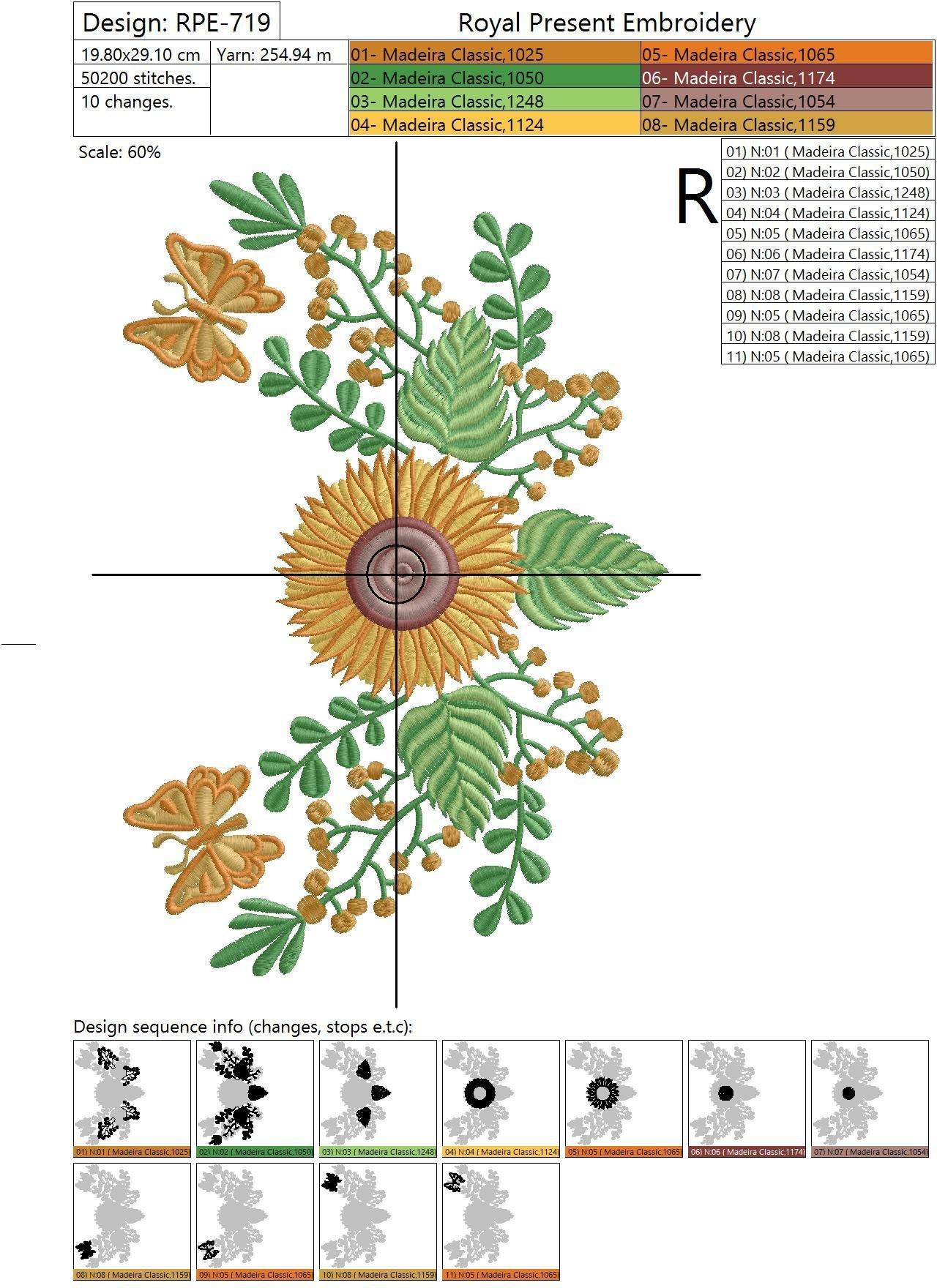 Дизайн машинной вышивки Подсолнухи и бабочки - 2 размера