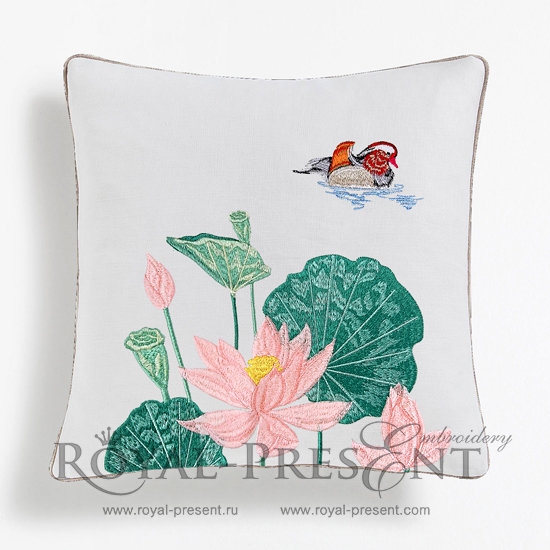 Дизайн машинной вышивки Мандаринка в лотосах - 2 размера PRE-1164