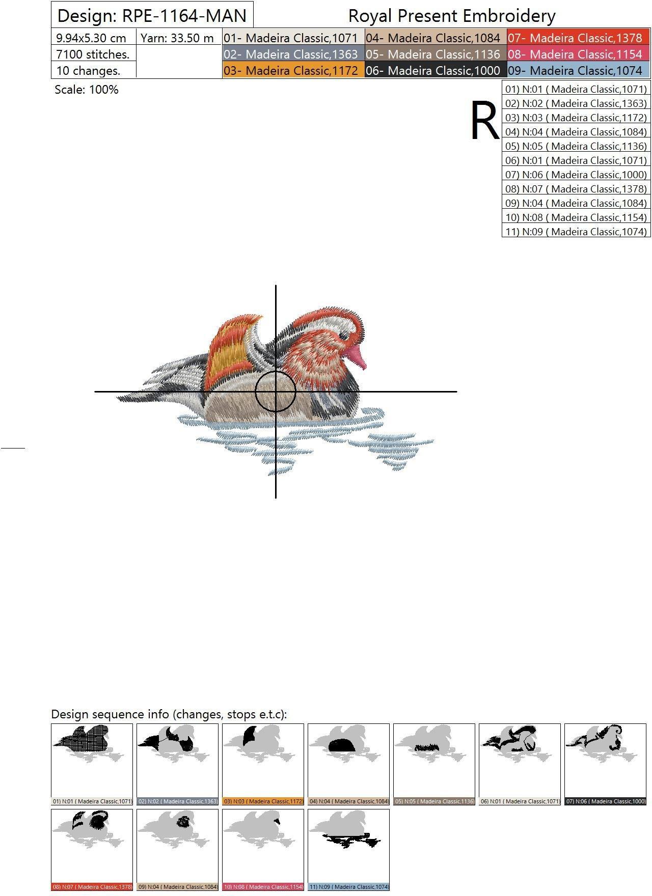 Дизайн машинной вышивки Мандаринка в лотосах - 2 размера