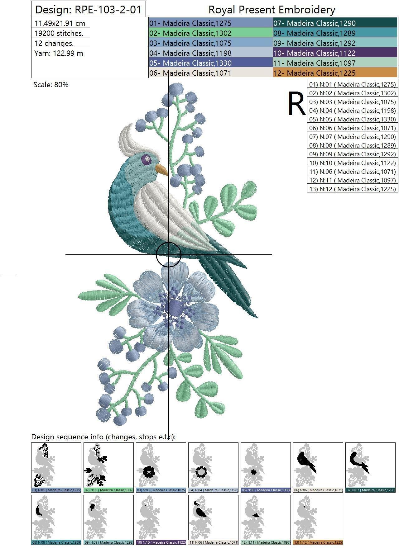 Дизайн машинной вышивки Бирюзовая птичка - 2 размера