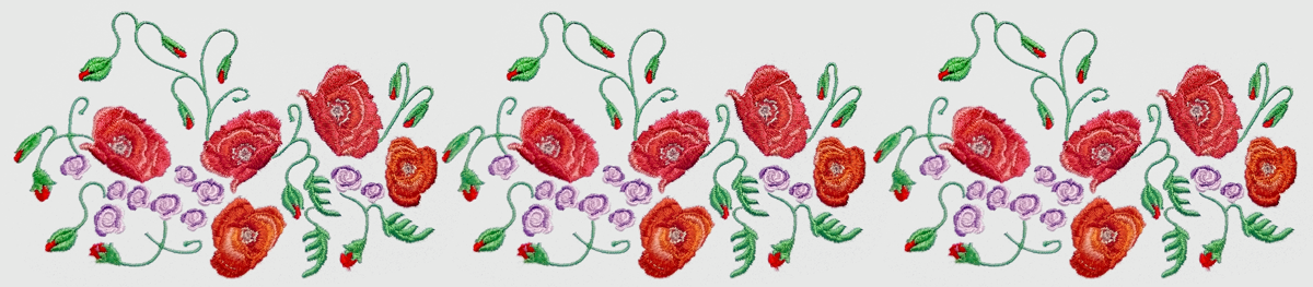 Дизайн машинной вышивки Маки и мотыльки - 3 размера