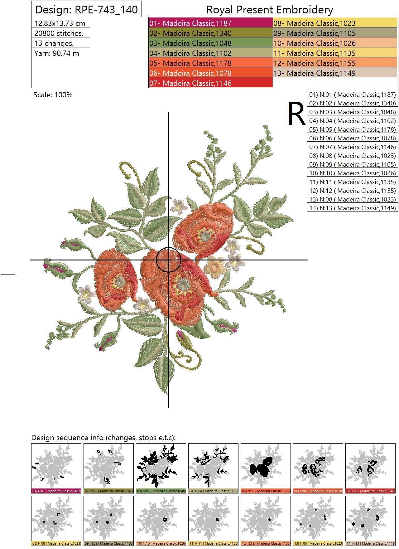 Дизайн для машинной вышивки Летние маки - 4 размера